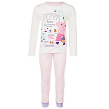 Buy Peppa Pig Print Pyjama Set, White/Pink Online at johnlewis.com