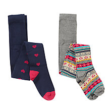 Buy John Lewis Girl Fair Isle Heart Tights, Pack of 2, Navy/Grey Online at johnlewis.com
