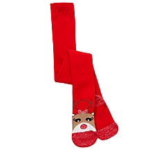 Buy John Lewis Girls' Christmas Reindeer Tights, Red Online at johnlewis.com