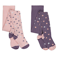 Buy John Lewis Girl Star Tights, Pack of 2, Navy/Pink Online at johnlewis.com