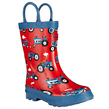 Buy Hatley Farm Tractors Wellington Boots, Red/Navy Online at johnlewis.com