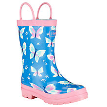 Buy Hatley Icy Butterflies Wellington Boots, Blue/Pink Online at johnlewis.com