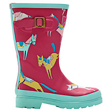 Buy Little Joule Holly Horse Wellington Boots, Pink/Blue Online at johnlewis.com