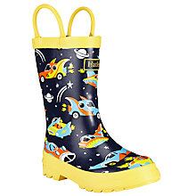 Buy Hatley Future Space Cars Wellington Boots, Navy/Yellow Online at johnlewis.com