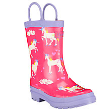 Buy Hatley Rainbow Unicorn Wellington Boots, Purple Online at johnlewis.com