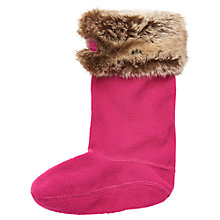 Buy Little Joule Frida Faux Fur Wellington Socks, Ruby Online at johnlewis.com