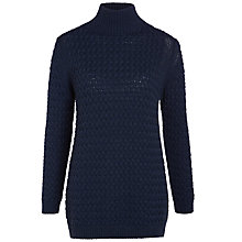 Buy Nicole Farhi Textured Archive Roll Jumper, Navy Online at johnlewis.com
