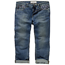 Buy Fat Face Embroidered Crop Jeans, Mid Indigo Online at johnlewis.com