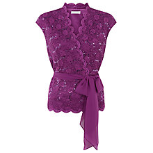 Buy Jacques Vert Stretched Lace Belted Top, Bright Purple Online at johnlewis.com