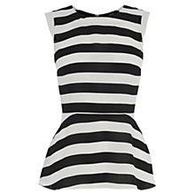 Buy Oasis Stripe Peplum Top, Black / White Online at johnlewis.com