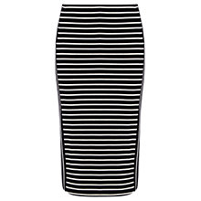 Buy Oasis Cut About Stripe Skirt, Black / White Online at johnlewis.com
