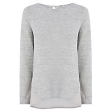 Buy Oasis Chiffon Insert Jumper, Mid Grey Online at johnlewis.com