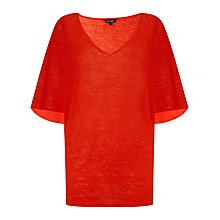Buy Phase Eight Alia Cape Sleeve Linen Knit Top, Red Online at johnlewis.com
