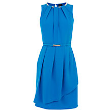 Buy Oasis Embellished Pleat Neck Dress, Rich Blue Online at johnlewis.com