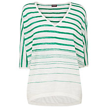 Buy Phase Eight Sade Stripe Knit Top, White/Emerald Online at johnlewis.com