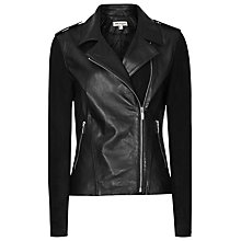 Buy Reiss Yana Suede Sleeve Biker Jacket, Black Online at johnlewis.com