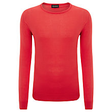 Buy John Smedley Luke Cotton Crew Neck Jumper, Hot Coral Online at johnlewis.com