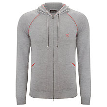 Buy John Smedley Bacall Merino Wool Hoodie, Silver/Garnet Red Online at johnlewis.com
