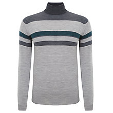 Buy John Smedley Fossick Roll Neck Merino Jumper, Silver/Charcoal Online at johnlewis.com