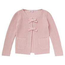 Buy Jigsaw Junior Girls' Bow Detail Knit Cardigan, Pink Online at johnlewis.com