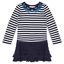 Buy Jigsaw Junior Girls' Stripe Ruffle Dress, Navy/White Online at johnlewis.com