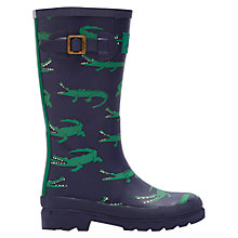 Buy Little Joule Crocodile Wellington Boots, Navy/Green Online at johnlewis.com