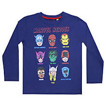 Buy Marvel Faces Long Sleeve T-Shirt, Blue Online at johnlewis.com
