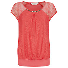 Buy Kaliko Lace and Jersey Bubble Top, Pastel Orange Online at johnlewis.com