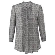 Buy Jigsaw Leaf Print Silk Blouse, Grey Online at johnlewis.com