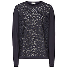 Buy Reiss Tess Lace Front Sweatshirt, Navy Online at johnlewis.com