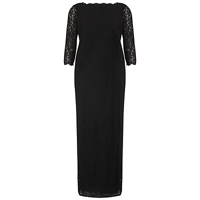 Adrianna Papell Plus Size Long Sleeve Lace Gown, Black