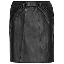 Buy Reiss Leather Tie Detail Skirt, Black Online at johnlewis.com