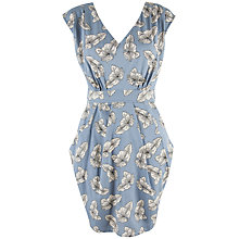 Buy Closet Leaf Tulip Print Dress, Dusky Blue Online at johnlewis.com