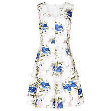 Buy Reiss Printed Novelty Cotton Dress, White Online at johnlewis.com