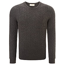 Buy John Smedley Dales Imperial Cable Knit Jumper, Charcoal Online at johnlewis.com