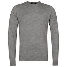 Buy John Smedley Marcus Merino Wool Crew Neck Jumper, Silver Online at johnlewis.com