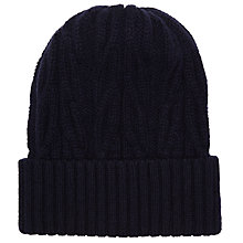 Buy John Smedley Merino Chunky Knit Hat, Midnight Online at johnlewis.com
