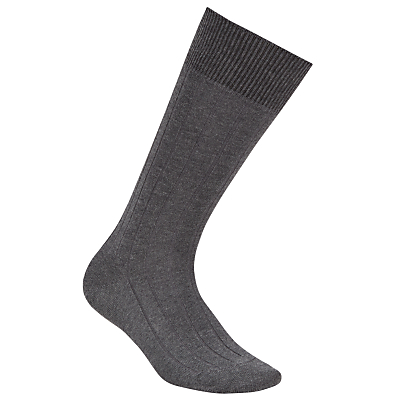 John Smedley Delta Socks, Charcoal