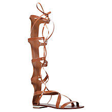 Buy Carvela Kiki Leather Knee High Gladiator Lace Up Sandals, Tan Online at johnlewis.com