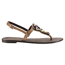 Buy Jigsaw Bree Flat Jewel Embellished Sandals, Taupe Suede Online at johnlewis.com