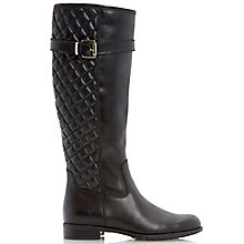 Buy Dune Viola Leather Quilted Knee High Boots, Black Online at johnlewis.com