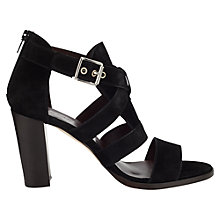 Buy Jigsaw Monique Leather Block Heeled Sandals, Black Suede Online at johnlewis.com