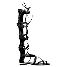 Buy Carvela Kiki Leather Knee High Gladiator Lace Up Sandals, Black Online at johnlewis.com