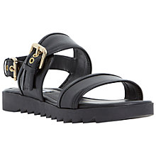 Buy Dune Locker Cleated Sole Sandals, Black Leather Online at johnlewis.com