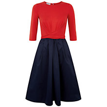Buy Hobbs Jessica Dress, Tomato/Light Navy Online at johnlewis.com