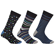 Buy John Lewis Bold Spot Stripe Socks, Pack of 3, Blue Online at johnlewis.com