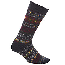 Buy John Lewis Patterned Slipper Socks, Navy Online at johnlewis.com