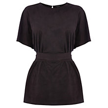 Buy Warehouse Suedette Belted Top, Black Online at johnlewis.com