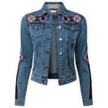 Buy East Embroidered Denim Jacket, Indigo Online at johnlewis.com