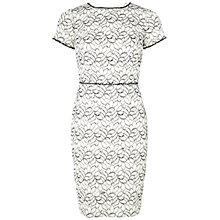 Buy Adrianna Papell Embellished Ornate Lace Sheath Dress, Ivory/Black Online at johnlewis.com